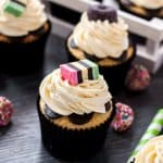 These Liquourice Allsorts Cupcakes are a vanilla cupcake with anise extract to give it a subtle liqourice flavour. Perfect for a Halloween party.