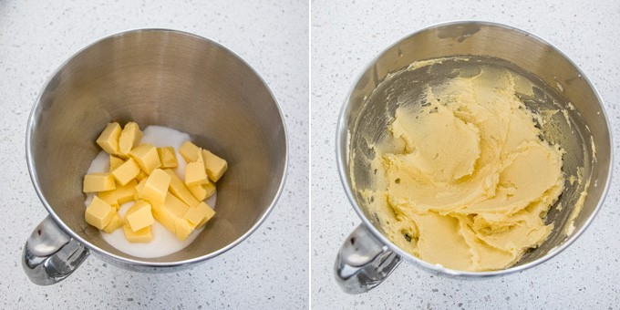 2 photos showing butter and sugar creamed together in a mixing bowl.