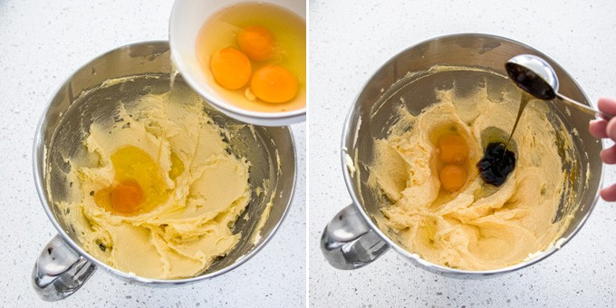 2 photos: eggs are added to creamed butter, then vanilla is added.