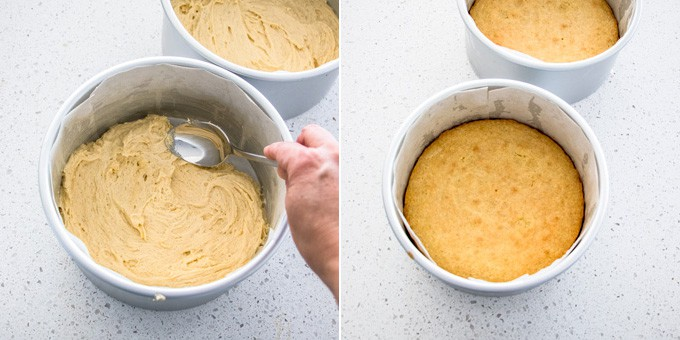 2 photos: spreading cake batter in a cake tin, baked vanilla cake in a cake tin.