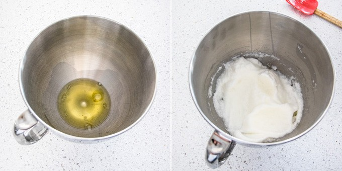 2 photos showing egg whites are beaten until foamy.