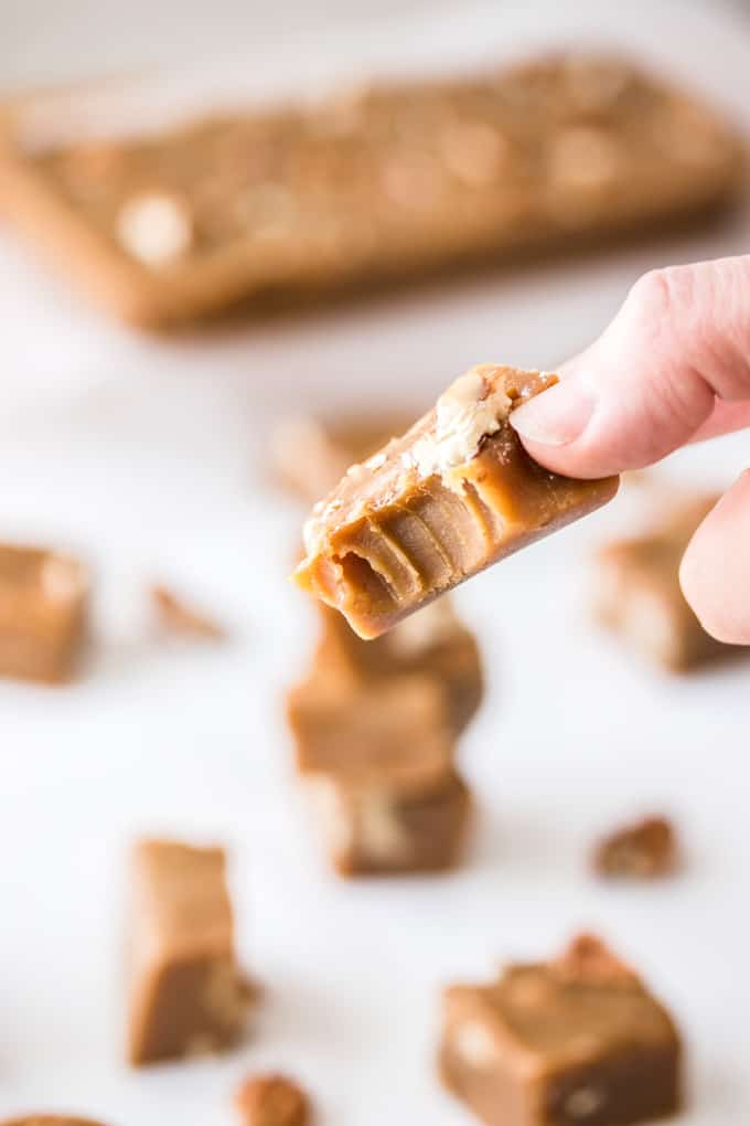 This Pecan Butterscotch Fudge, also known as penuche fudge, is a simple fudge recipe combining brown sugar and pecans. Fudge like this makes wonderful edible gifts for the holiday season too.
