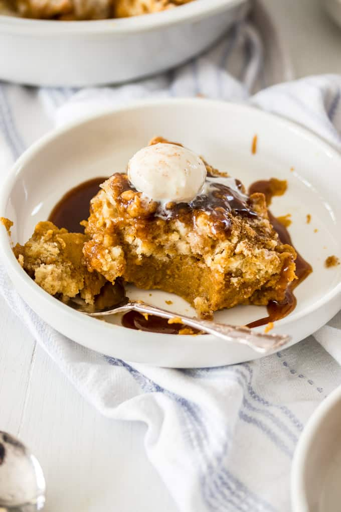 Looking for an easy pumpkin dessert? How about this gorgeous Pumpkin Cobbler – a sweet, creamy pumpkin custard, topped with a crunchy, crumbly cobbler topping is makes the perfect comforting dessert.