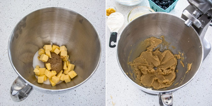 2 images showing butter and sugar being creamed together in a metal bowl.