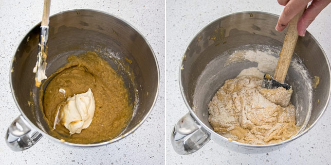 Collage of 2 photos showing how to mix together blueberry cake batter in a metal bowl.