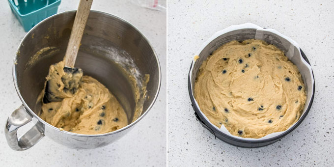 2 photos: Blueberry cake batter in a metal bowl, then in a springform tin, ready for baking.