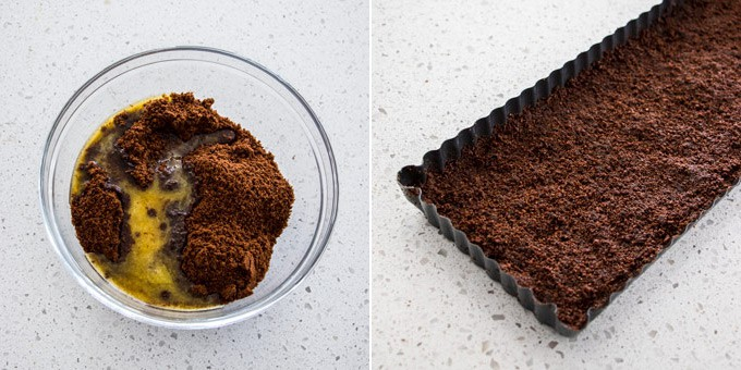 2 photos: cookie crumbs and butter in a glass bowl, cookie base is pressed into a tart tin.