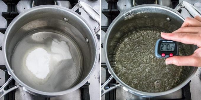 2 photos: water and sugar in a pot, sugar syrup boiling at 270 degrees.