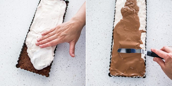 2 photos: adding the nougat layer on top of cookie base, spreading melted chocolate on top.