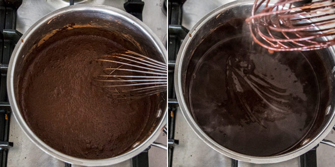 2 photos showing the process of making chocolate pudding in a sauce pan