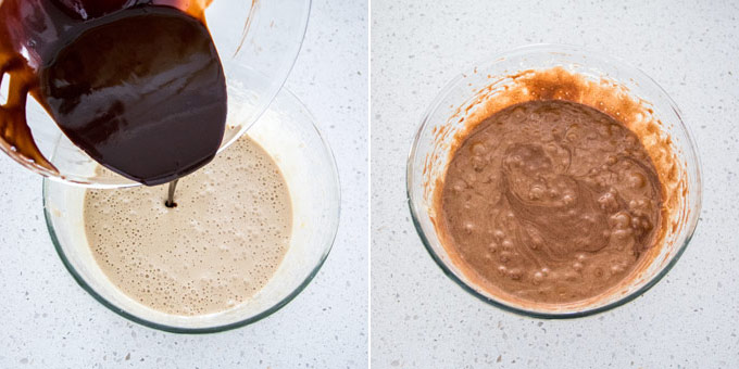 2 photos: adding chocolate to wet ingredients, then mixed.