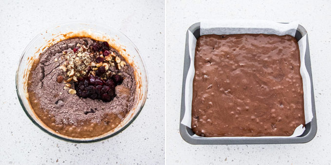 2 photos: adding filling to brownie batter, batter spread in a square baking tin.