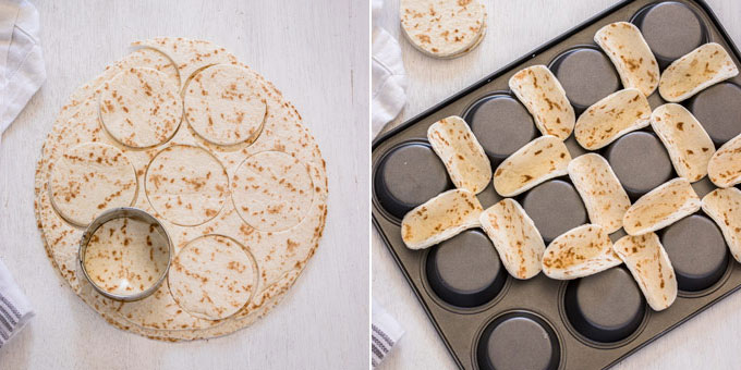 A collage showing how to make mini tortilla shells - cutting circles out of jumbo tortillas and sitting them between the holes of a muffin tin