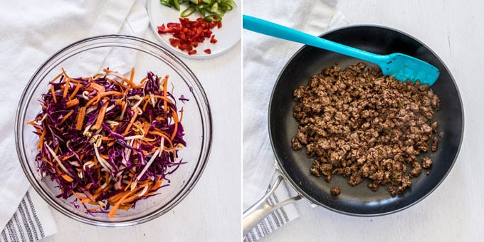 A bowl of Asian slaw and a frying pan showing cooked beef mince