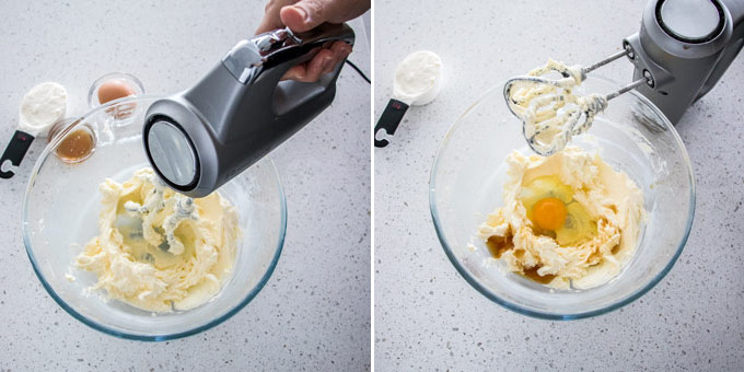 2 photos: beating cream cheese in a glass bowl, adding egg and vanilla.