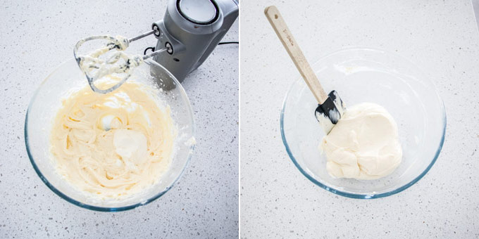 2 photos: adding sour cream to finish the cream cheese filling in a glass bowl.