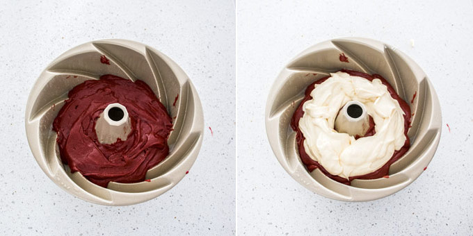2 photos: adding red velvet cake batter to a bundt pan, adding cream cheese filling.