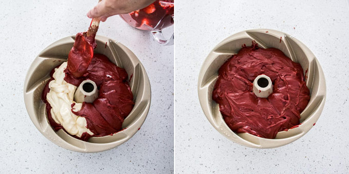 2 photos: adding another layer of red velvet cake on top of the cream cheese filling, bundt cake ready for baking.