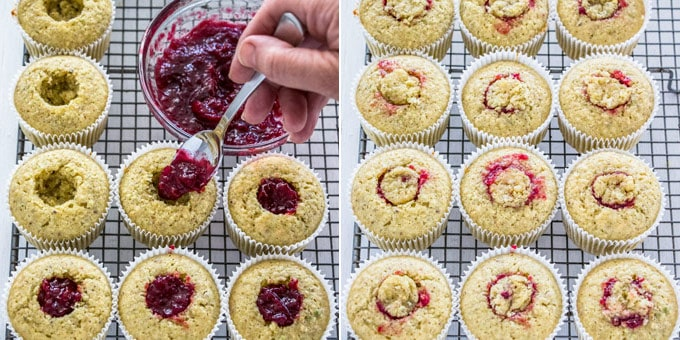 2 photos: filling pistachio cupcakes with cherry compote, placing the cutout piece of cupcakes back to cover the holes.