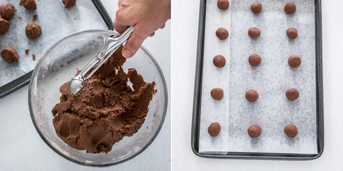 Balls of chocolate cookie dough on a baking tray