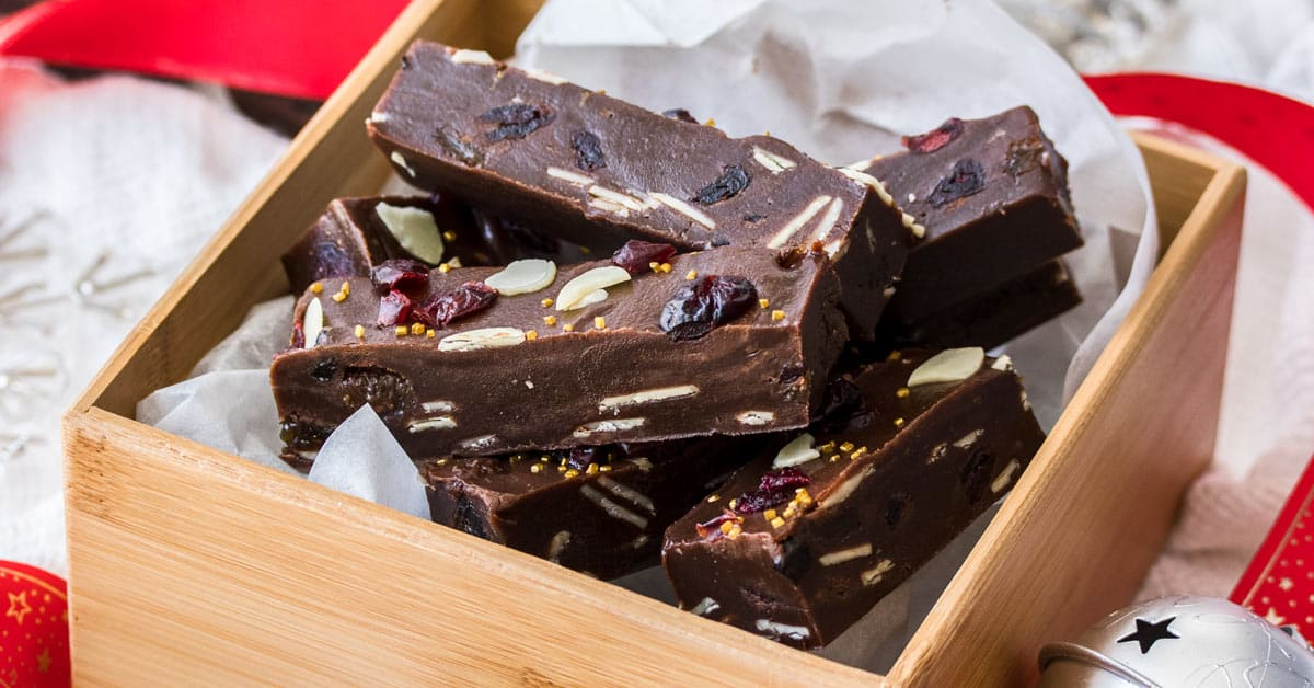 Closeup of Christmas Fudge in a wooden box.