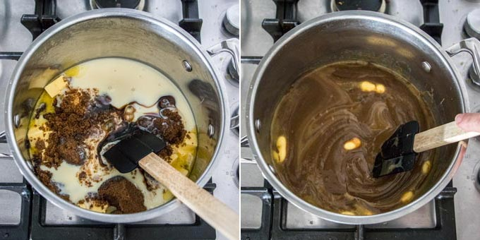 2 photos: cooking fudge in a saucepan.