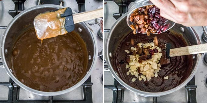 2 photos: showing the consistency of the mixture on a spatula, adding nuts and dried fruits.