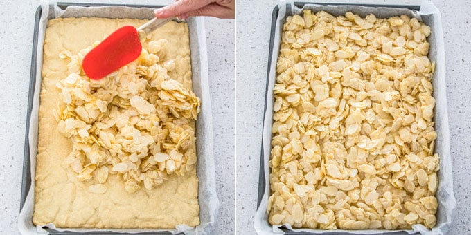2 photos: adding flaked almonds on top a shortbread base, flaked almonds topping spread out evenly.