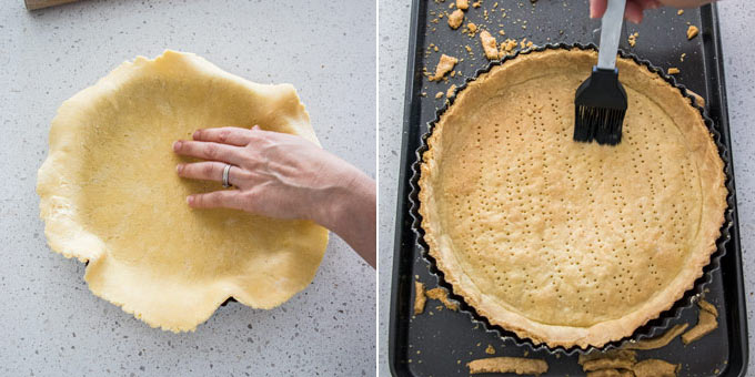 2 photos: placing tart dough in a tin, brushing baked tart shell with egg white.