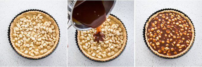 Collage of 3 photos showing how to assemble the filling for Macadamia Salted Caramel Tart.