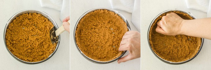 Images showing how to make a cheesecake crust.