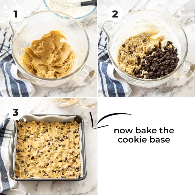 A glass mixing bowl filled with cookie dough and chocolate chips then showing it pressed into a square tin