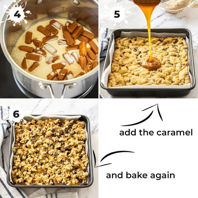 Caramel being poured over cookie dough in a tin, then covered in more cookie dough