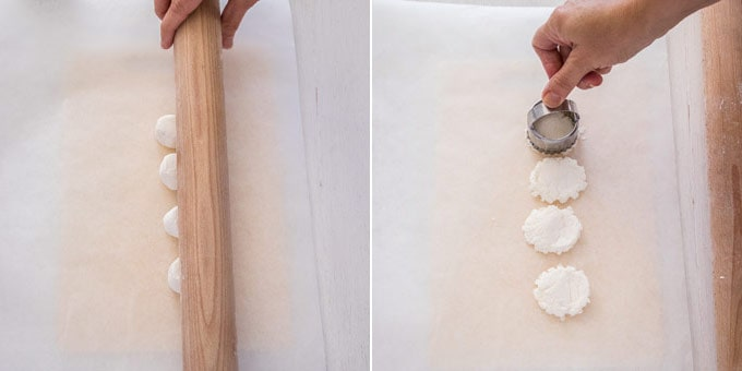 2 photos: mashing marshmallows with a rolling pin, cutting marshmallows with a cookie cutter