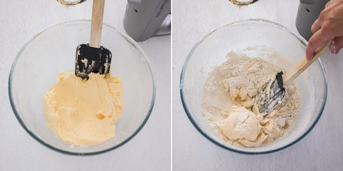 2 photos: creaming butter in a glass bowl, adding flour