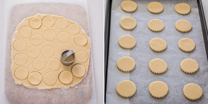 2 photos: biscuit dough is rolled out and cut with a cookie cutter, raw cookies on a baking sheet