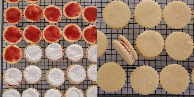 2 photos: adding jam and marshmallows to cookies on a wire rack, cookie sandwiches on a wire rack