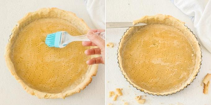 2 photos: preparing tart dough for baking