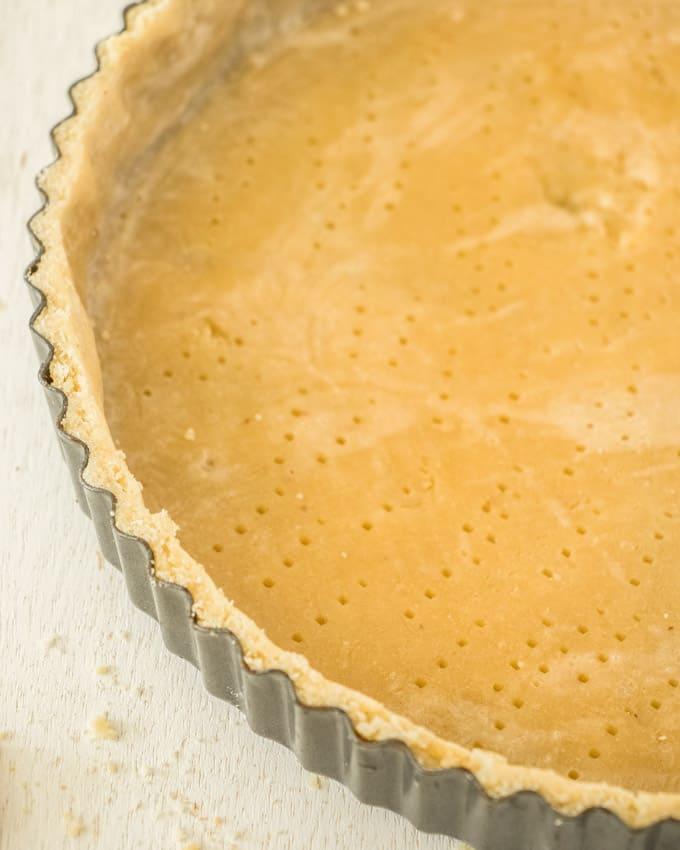 Closeup of a tart shell in a tart pan