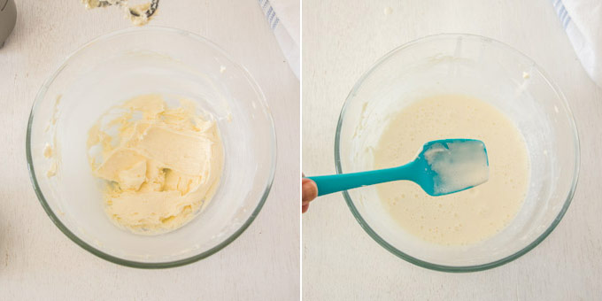 2 photos: making the cream cheese filling