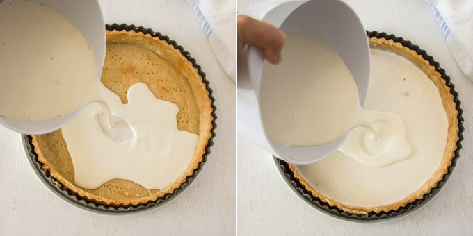 2 photos: adding cream cheese filling to the baked tart shell