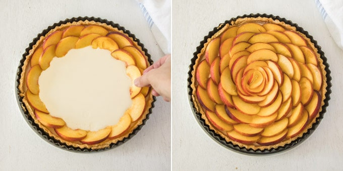 2 photos: arranging peach slices on top of the filling