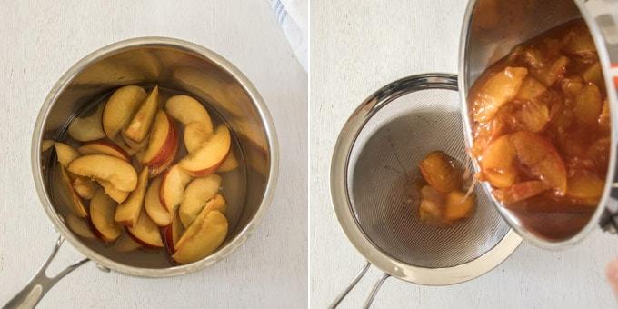 2 photos: making peach jelly from fresh peaches