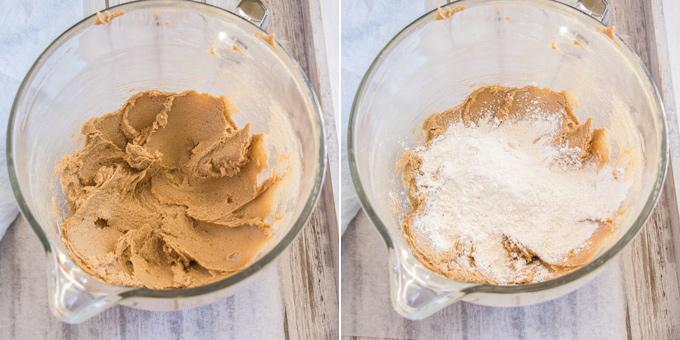 2 photos: Creaming butter, then adding flour to make cookie dough
