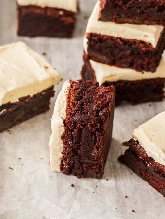 Red Velvet Brownies with the creamiest cream cheese icing you'll ever try. These easy to make brownies will be a hit at your next morning tea.