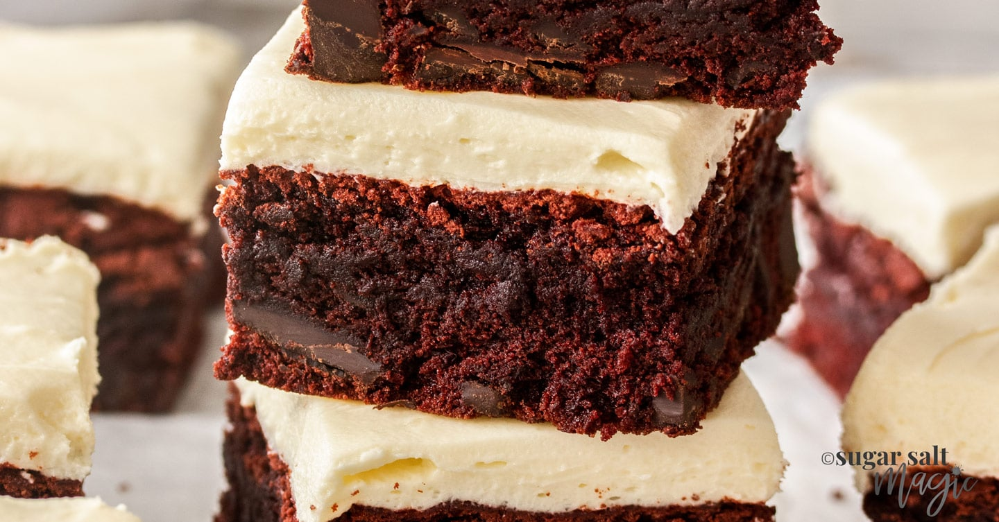 Closeup of a red velvet brownie