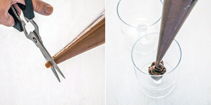 Using a piping bag to pipe chocolate custard into serving glasses