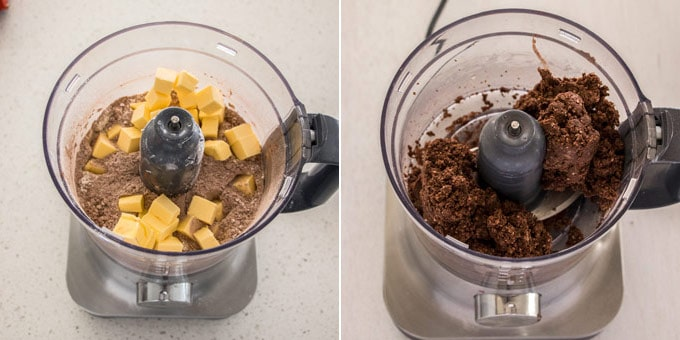 Making chocolate pastry in a food processor
