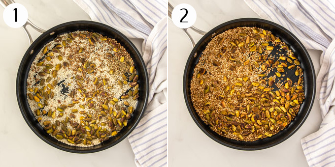 2 photos: A large frying pan browning nuts, seeds and spices for dukkah