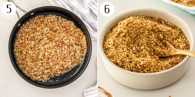 2 photos: chorizo dukkah in a sautee pan, and then in a bowl